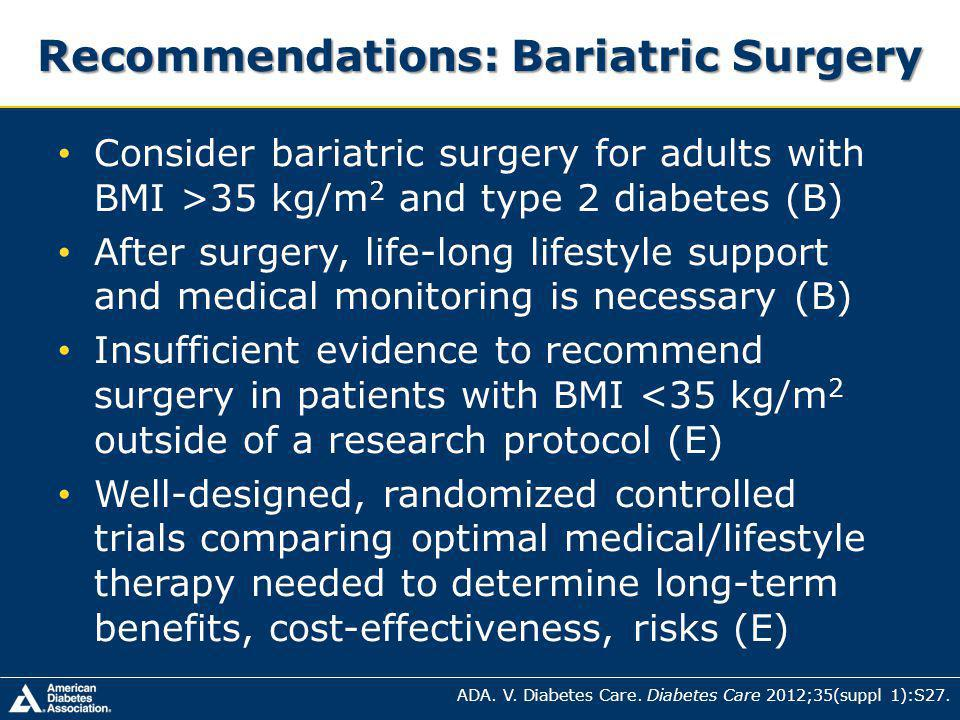 Recommendations: Bariatric Surgery