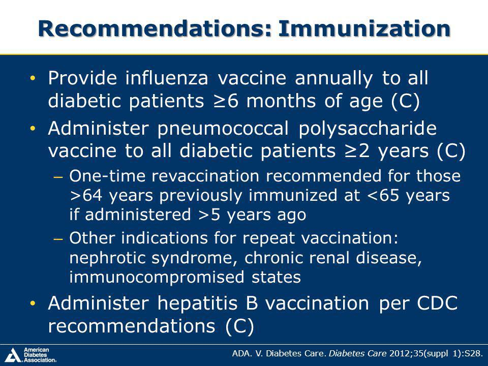 Recommendations: Immunization