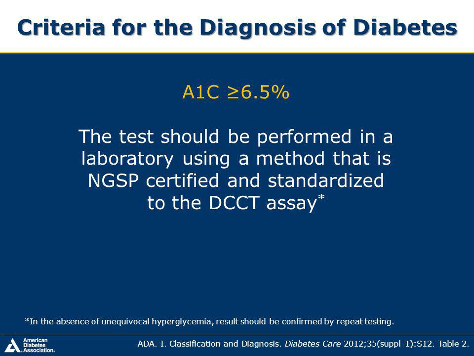 Criteria for the Diagnosis of Diabetes