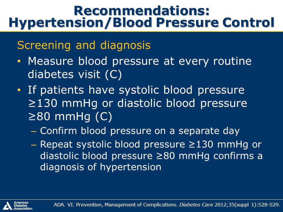Recommendations: Hypertension/Blood Pressure Control