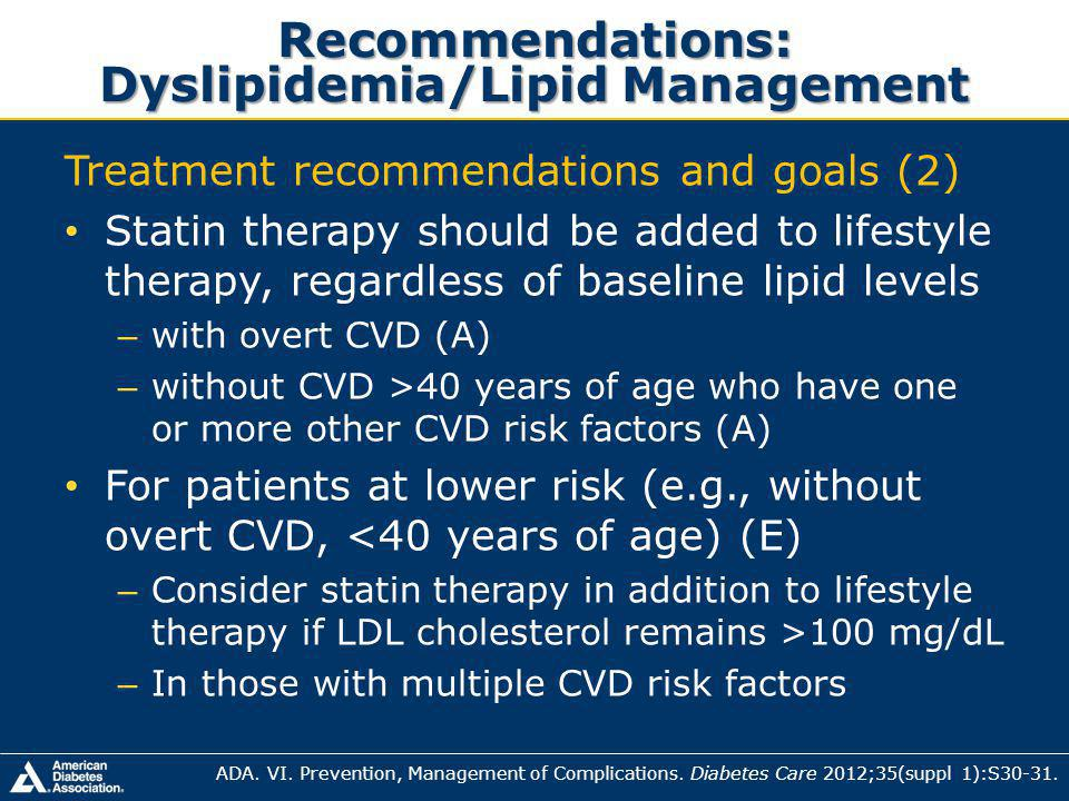 Recommendations: Dyslipidemia/Lipid Management
