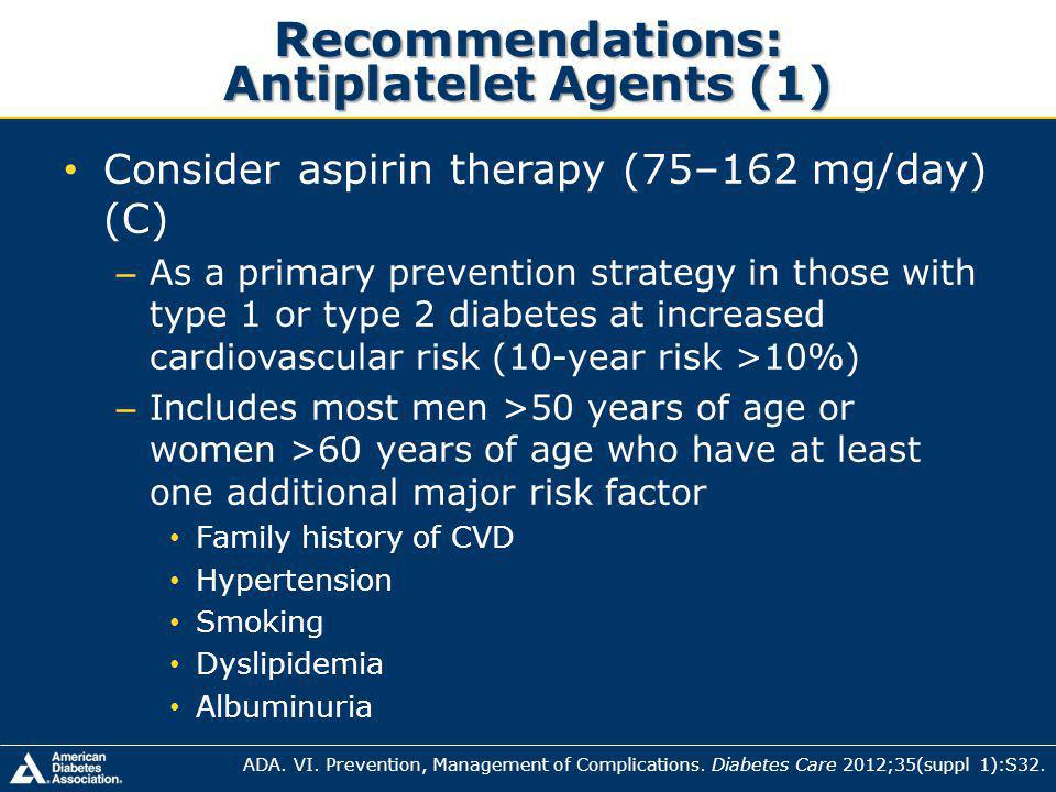 Recommendations: Antiplatelet Agents (1)