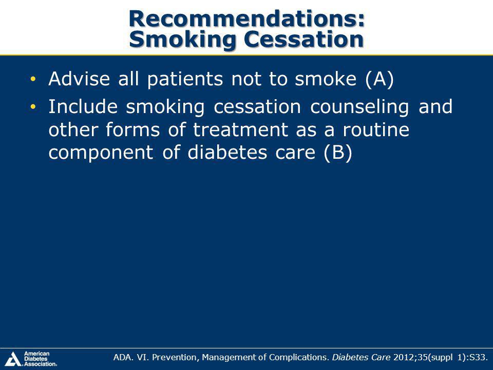 Recommendations: Smoking Cessation