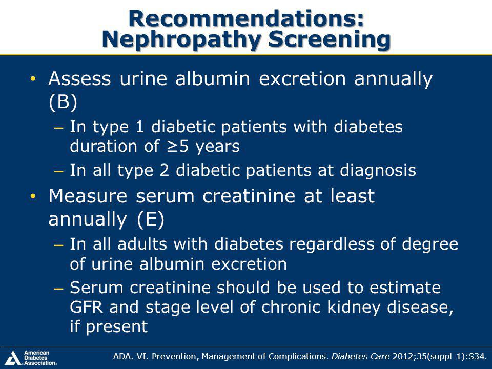 Recommendations: Nephropathy Screening