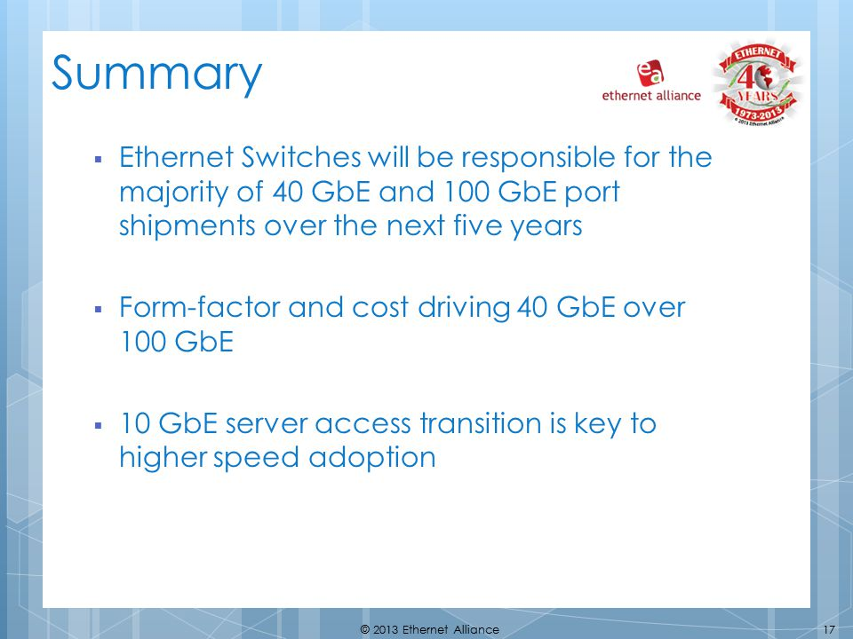 Summary Ethernet Switches will be responsible for the majority of 40 GbE and 100 GbE port shipments over the next five years.