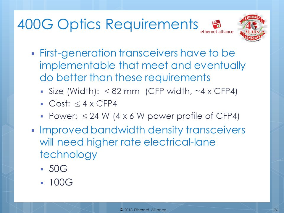 400G Optics Requirements First-generation transceivers have to be implementable that meet and eventually do better than these requirements.