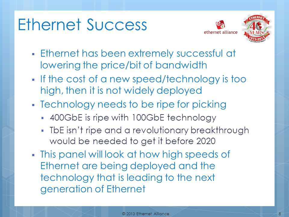 Ethernet Success Ethernet has been extremely successful at lowering the price/bit of bandwidth.
