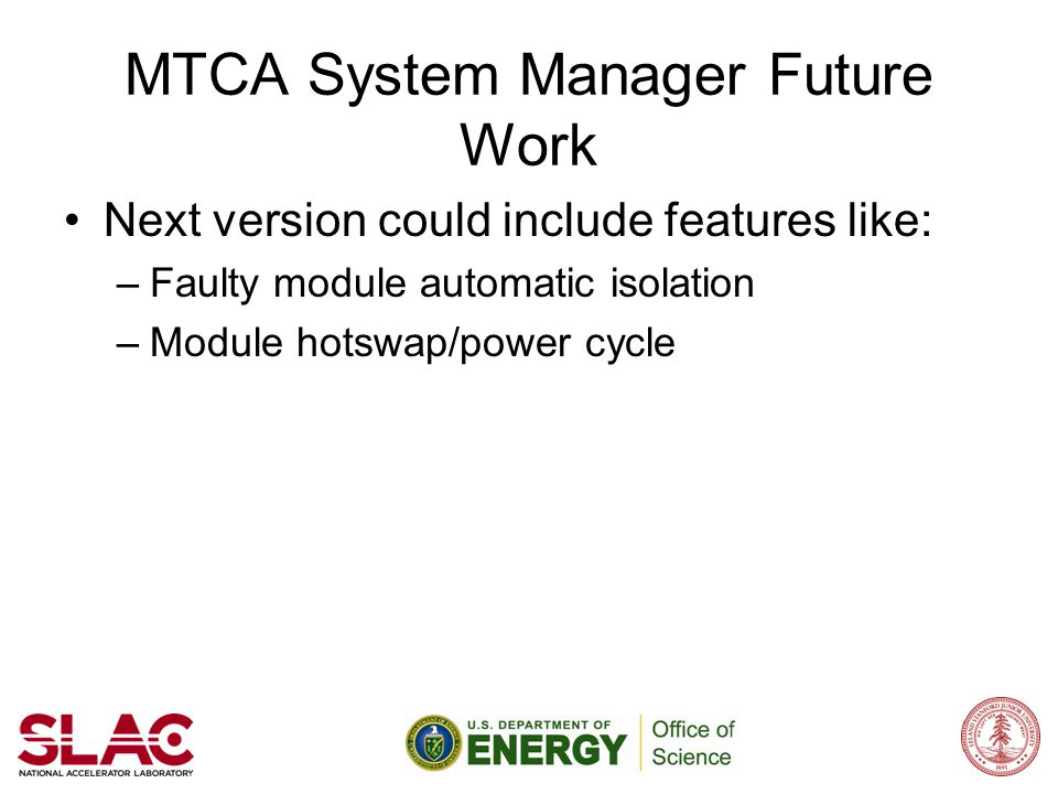 MTCA System Manager Future Work