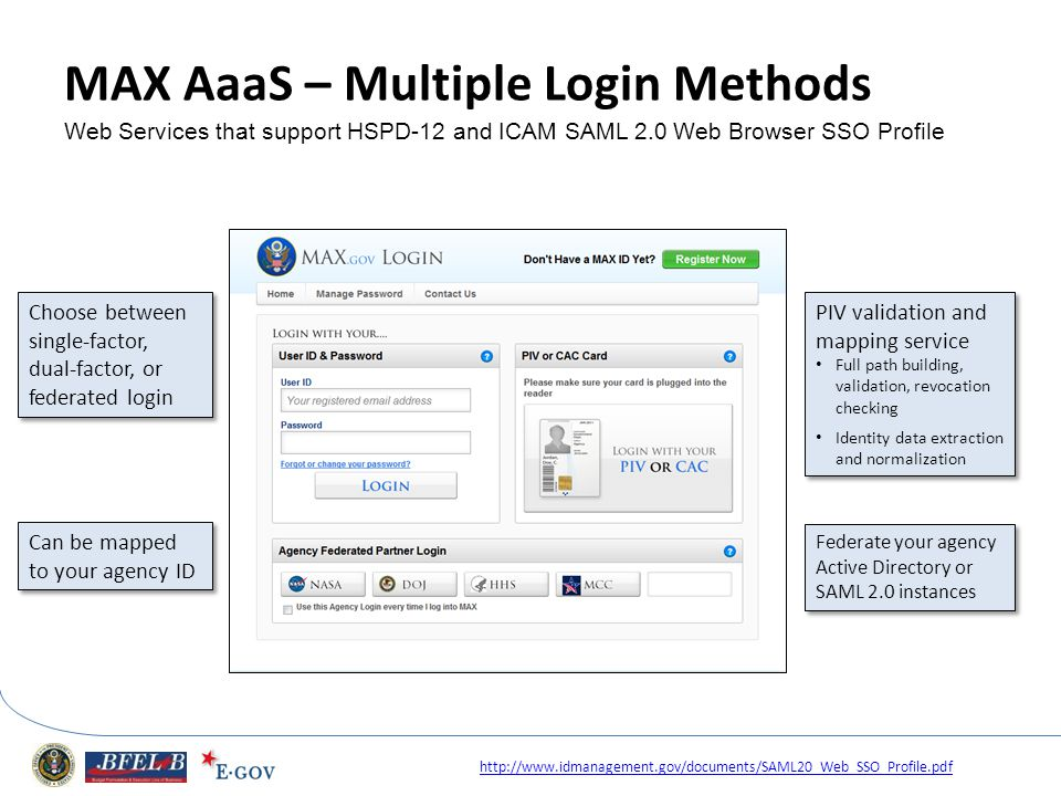 MAX AaaS – Multiple Login Methods