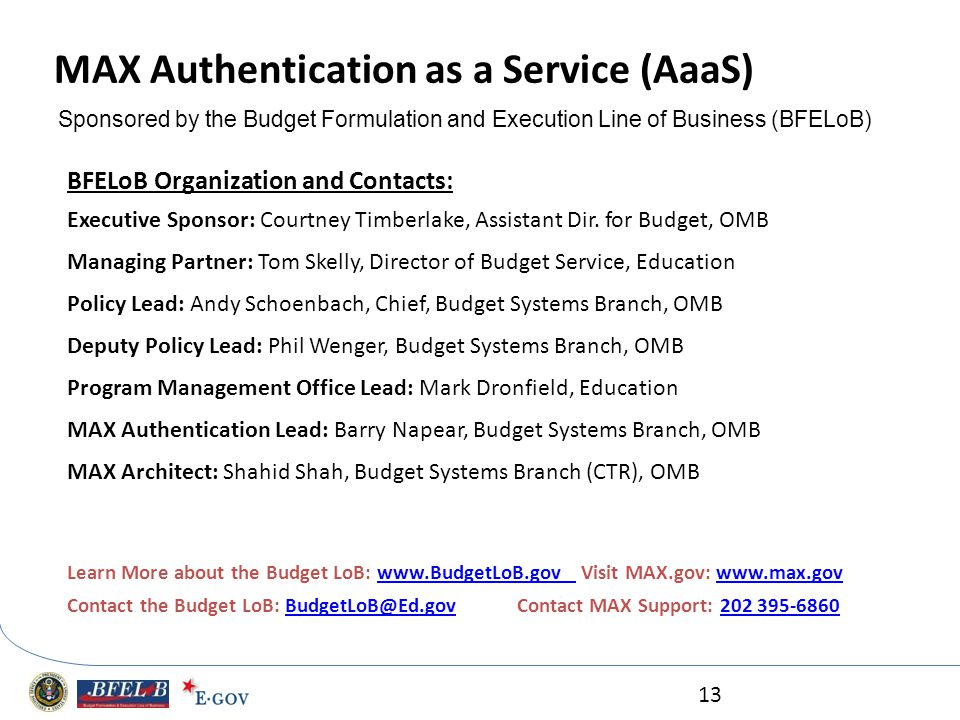 MAX Authentication as a Service (AaaS)
