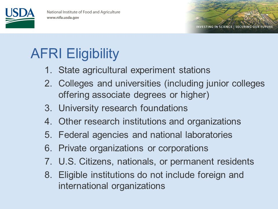 AFRI Eligibility State agricultural experiment stations