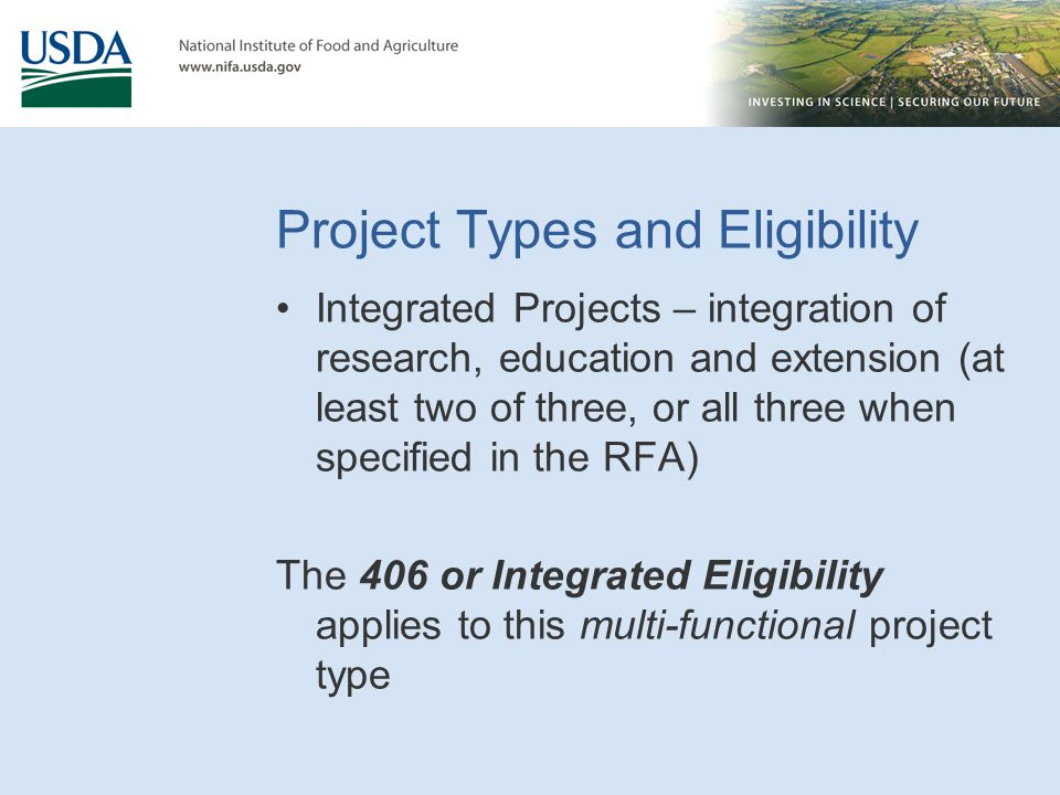 Project Types and Eligibility