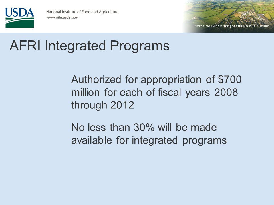 AFRI Integrated Programs
