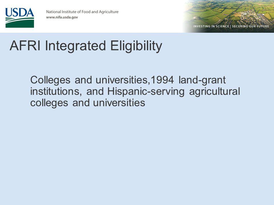 AFRI Integrated Eligibility