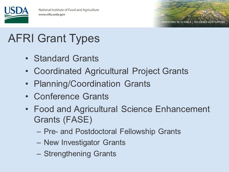 AFRI Grant Types Standard Grants