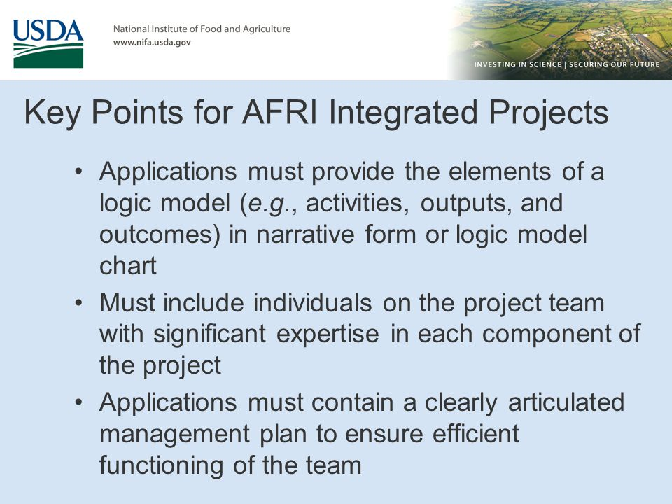Key Points for AFRI Integrated Projects