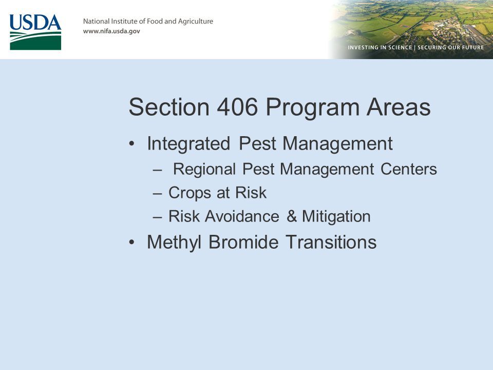 Section 406 Program Areas Integrated Pest Management