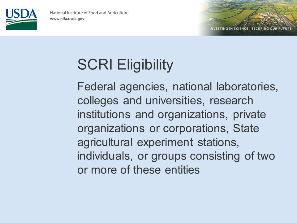 SCRI Eligibility
