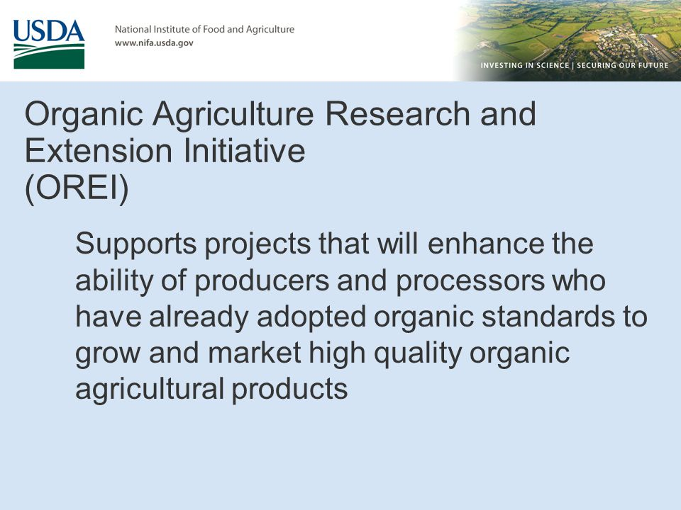 Organic Agriculture Research and Extension Initiative (OREI)