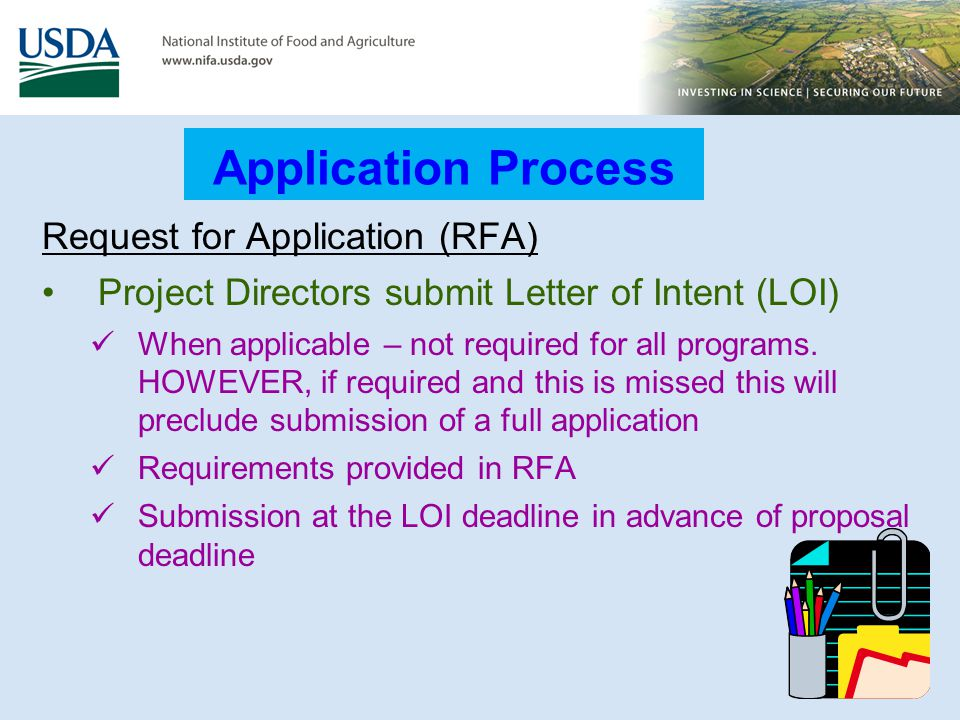 Application Process Request for Application (RFA)