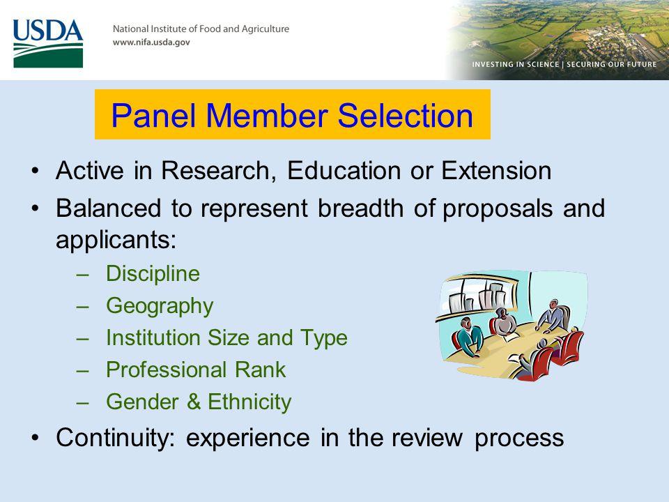 Panel Member Selection