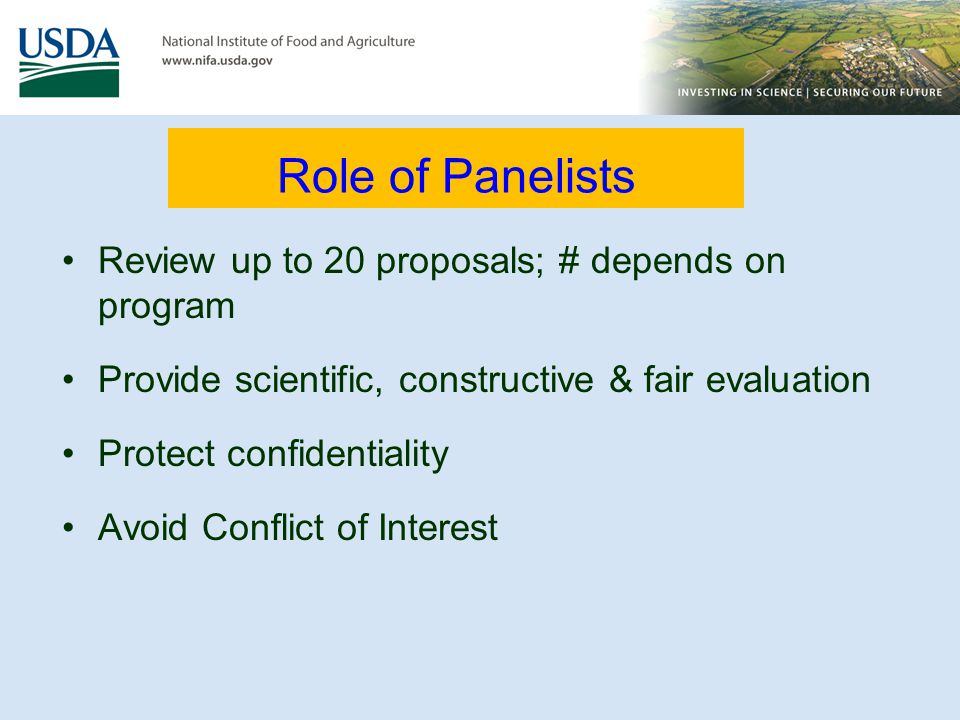 Role of Panelists Review up to 20 proposals; # depends on program