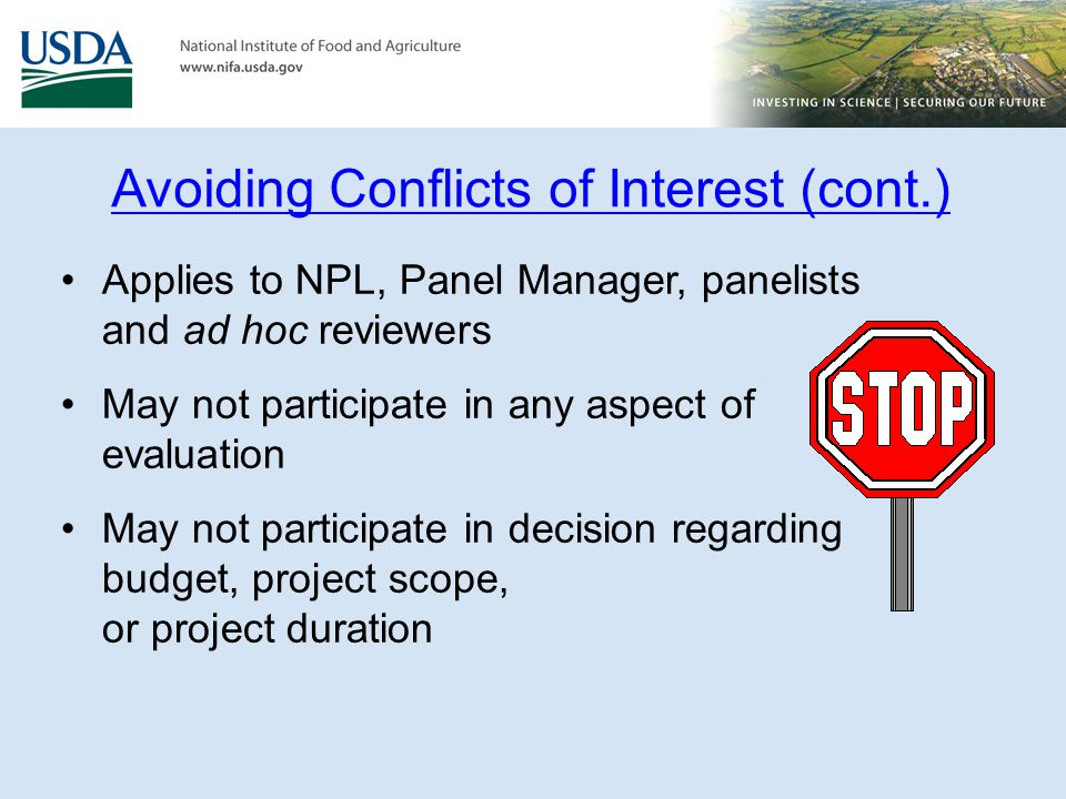 Avoiding Conflicts of Interest (cont.)