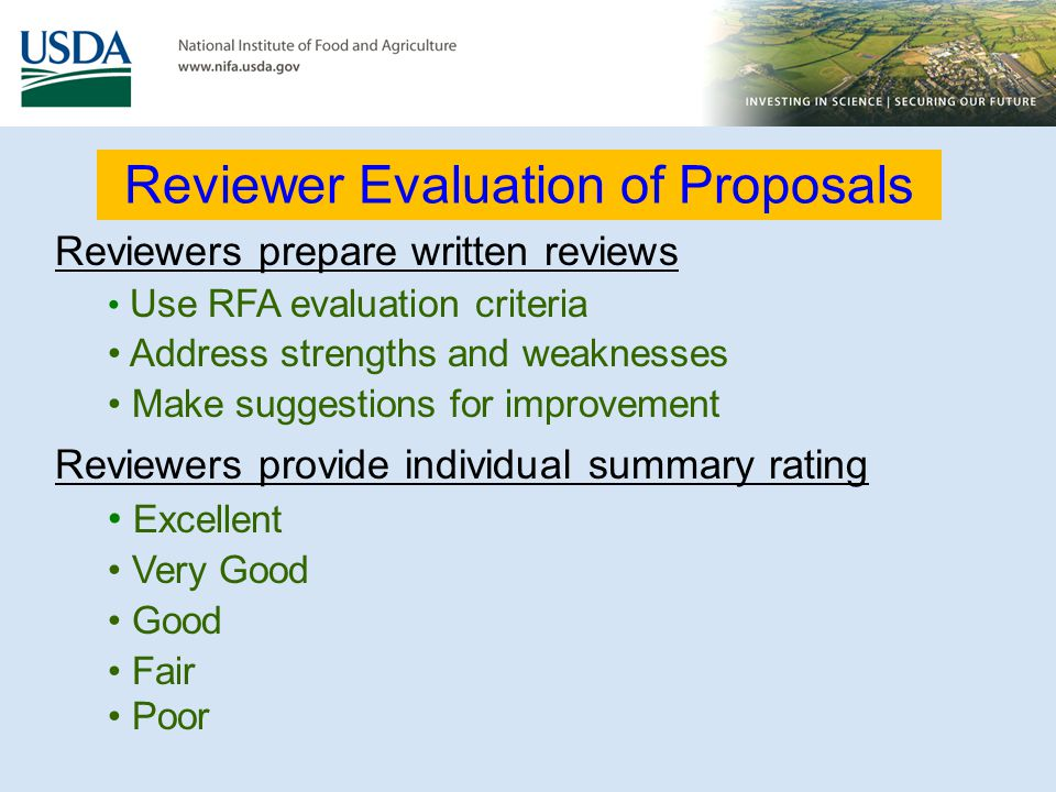 Reviewer Evaluation of Proposals