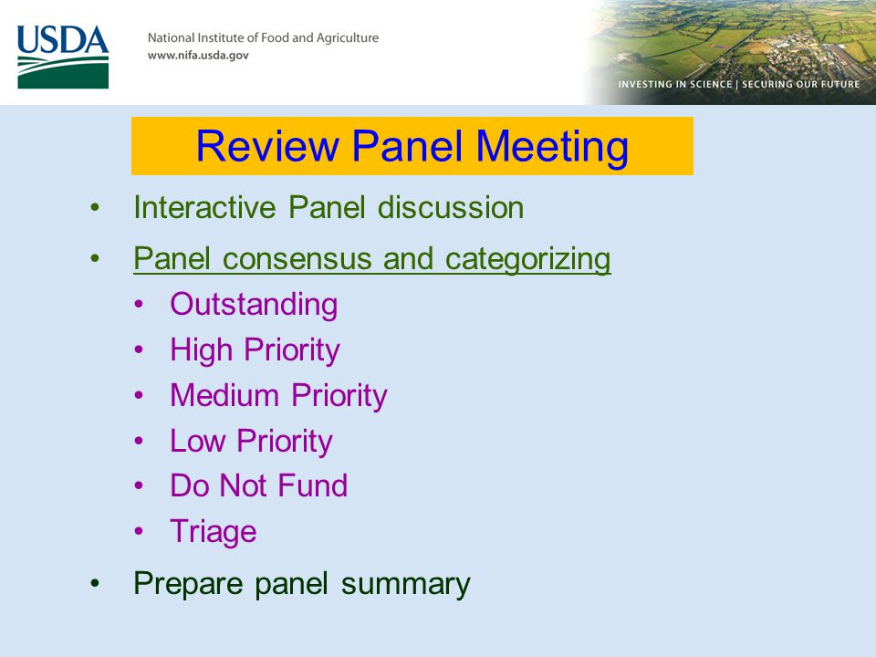 Review Panel Meeting Interactive Panel discussion