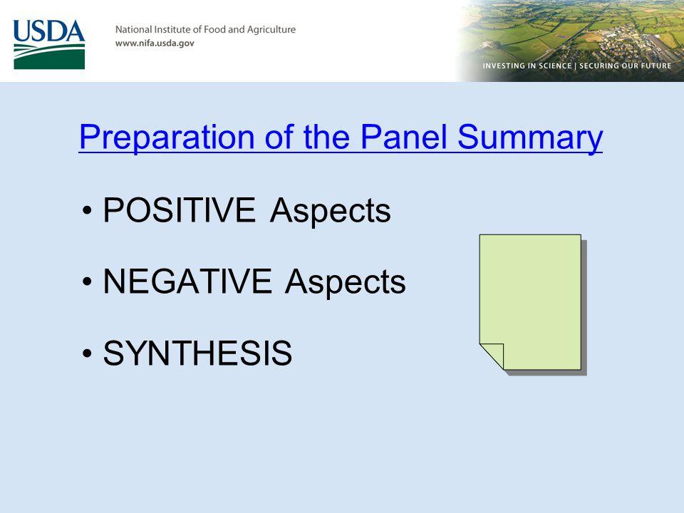 Preparation of the Panel Summary