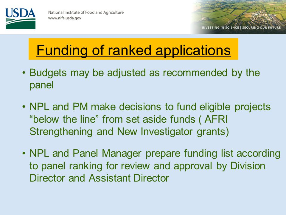Funding of ranked applications