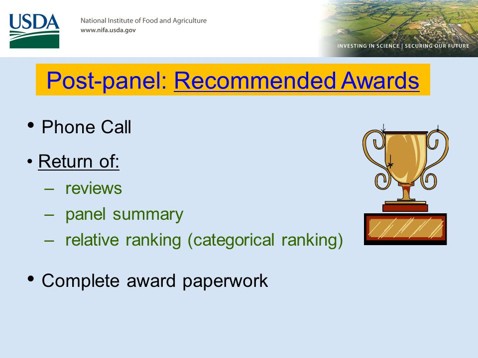 Post-panel: Recommended Awards
