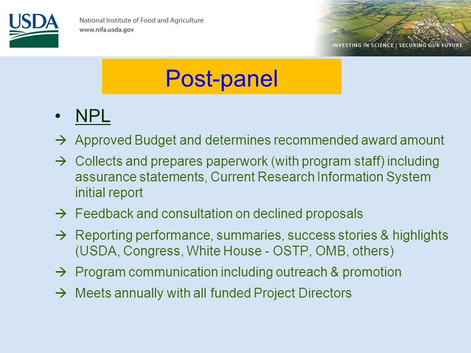 Post-panel NPL Approved Budget and determines recommended award amount