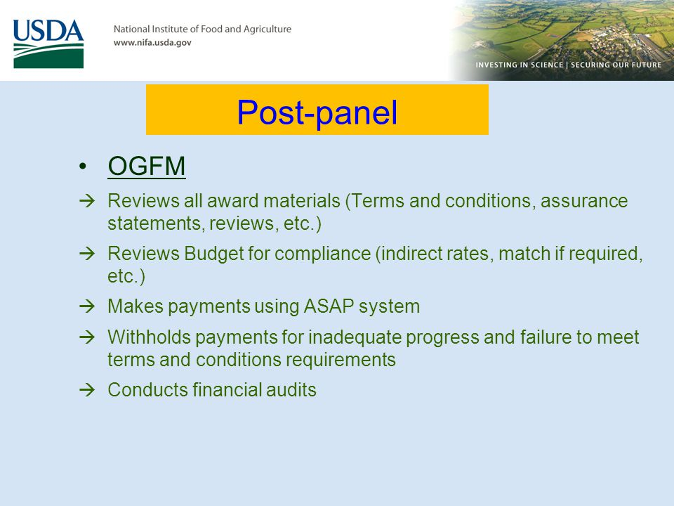 Post-panel OGFM. Reviews all award materials (Terms and conditions, assurance statements, reviews, etc.)