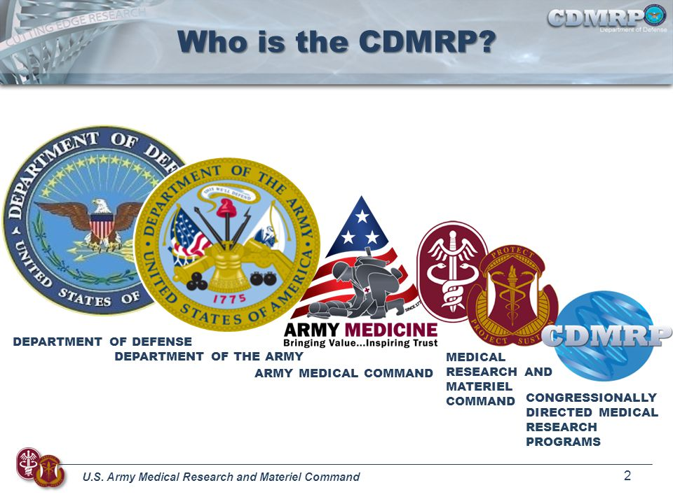 Who is the CDMRP DEPARTMENT OF DEFENSE DEPARTMENT OF THE ARMY