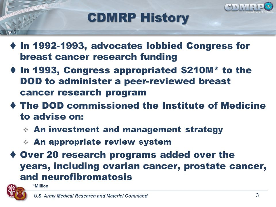 CDMRP History In 1992-1993, advocates lobbied Congress for breast cancer research funding.
