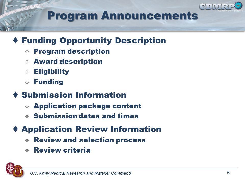 Program Announcements