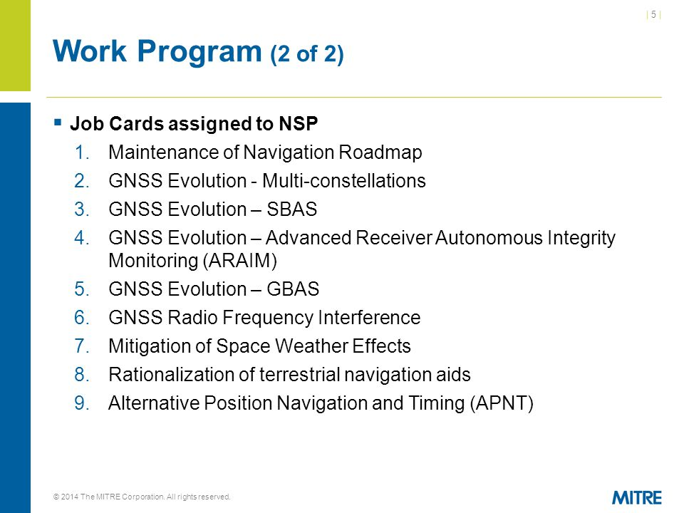 Work Program (2 of 2) Job Cards assigned to NSP
