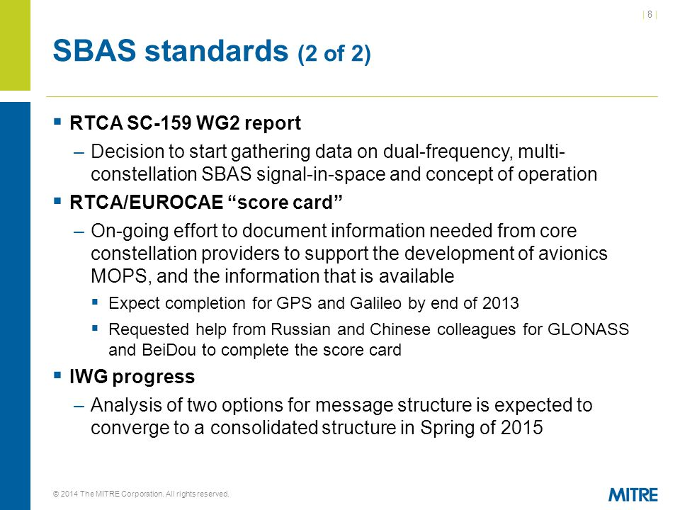 SBAS standards (2 of 2) RTCA SC-159 WG2 report
