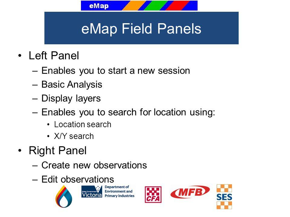eMap Field Panels Left Panel Right Panel