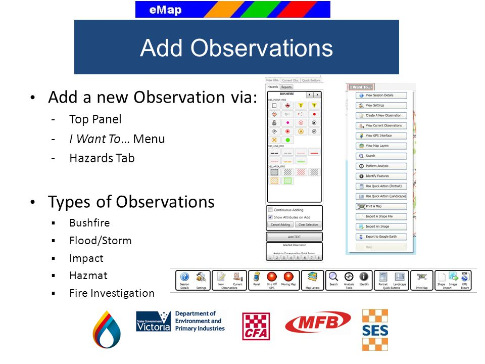 Add Observations Add a new Observation via: Types of Observations
