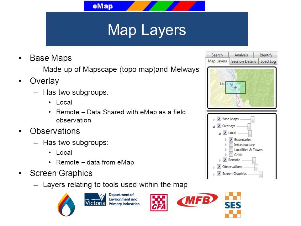 Map Layers Base Maps Overlay Observations Screen Graphics
