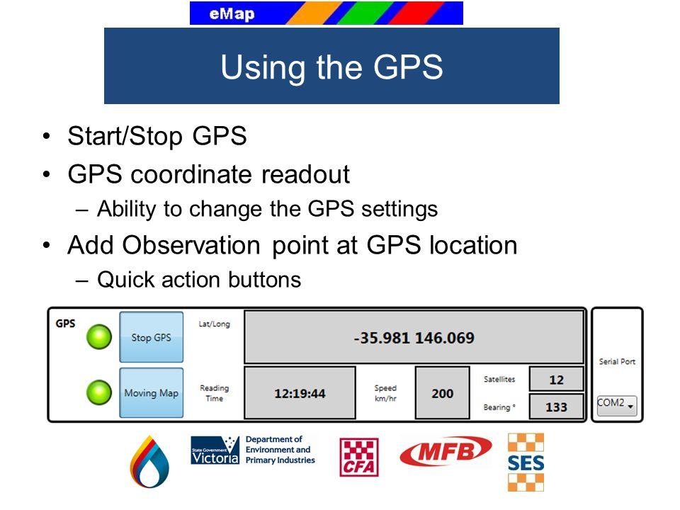 Using the GPS Start/Stop GPS GPS coordinate readout