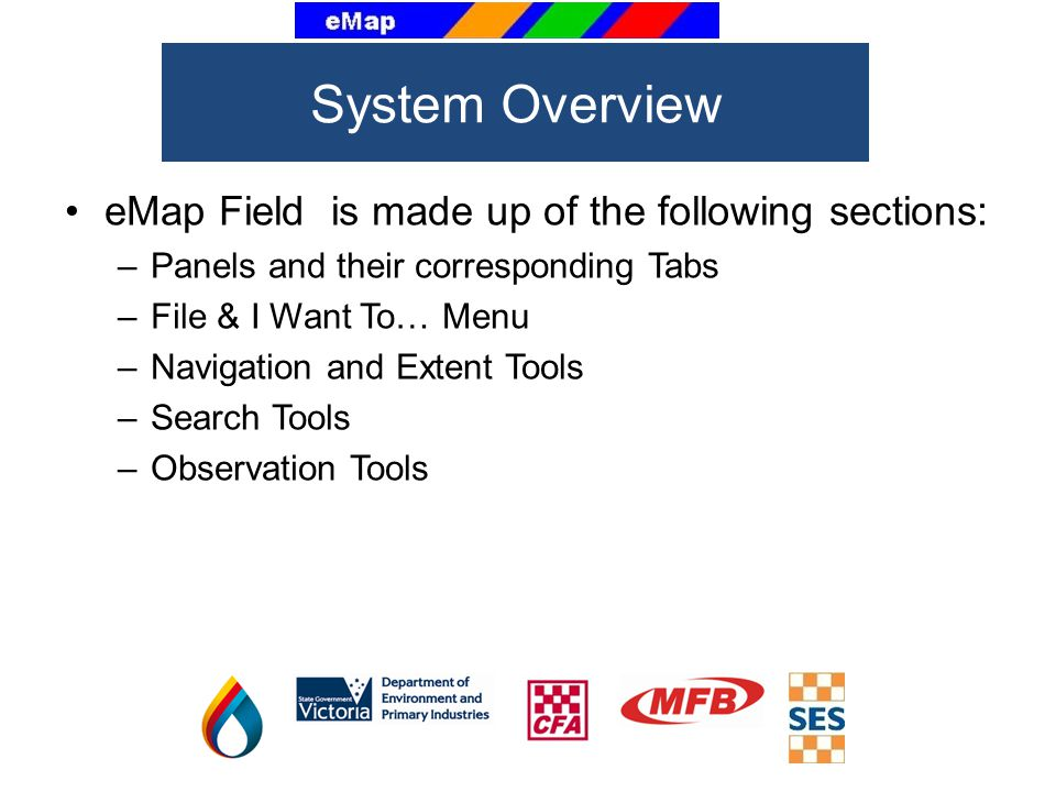 System Overview eMap Field is made up of the following sections: