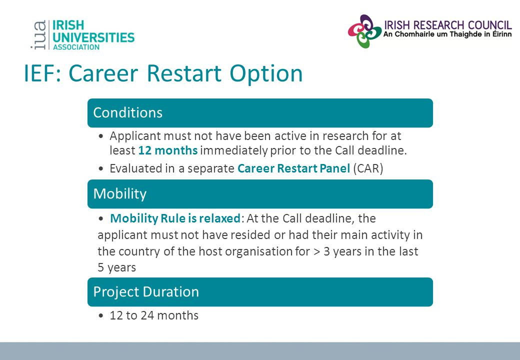 IEF: Career Restart Option
