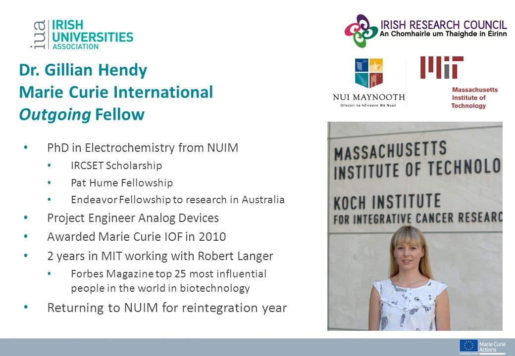 Dr. Gillian Hendy Marie Curie International Outgoing Fellow