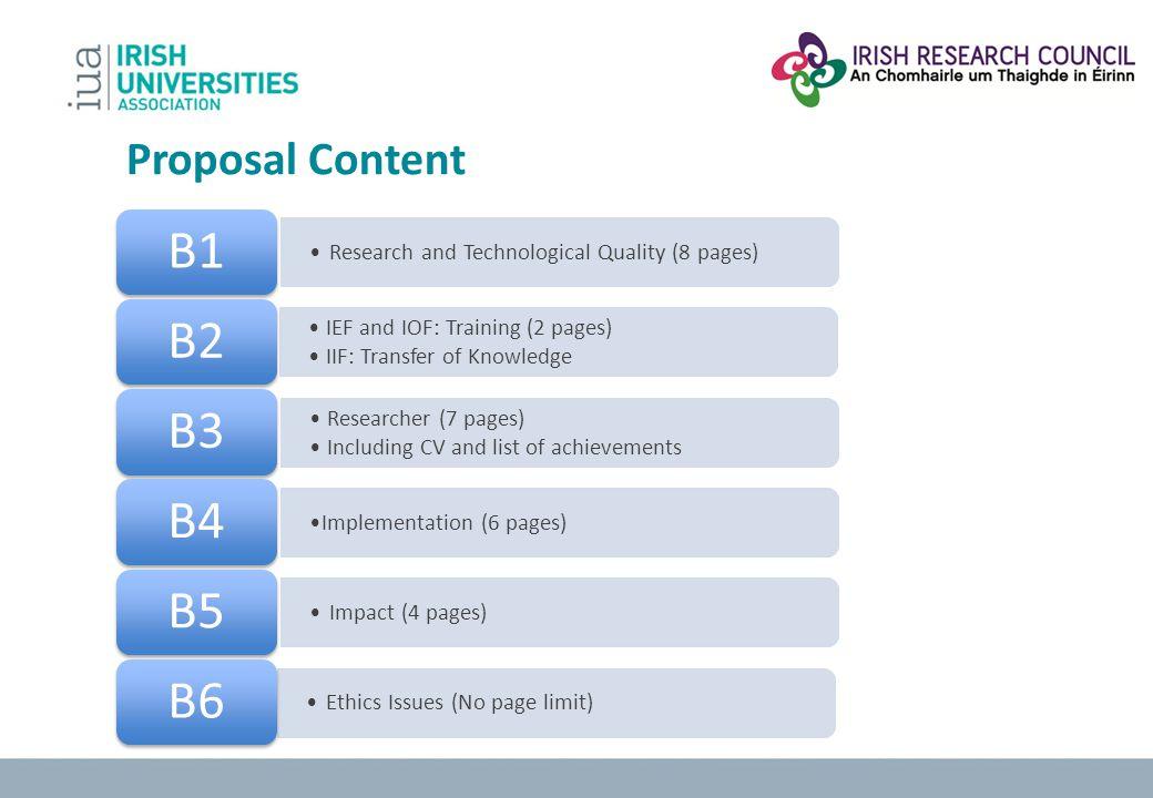 B1 B2 B3 B4 B5 B6 Proposal Content