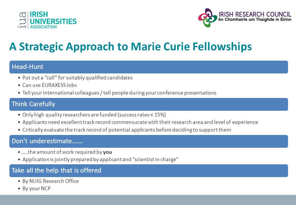 A Strategic Approach to Marie Curie Fellowships