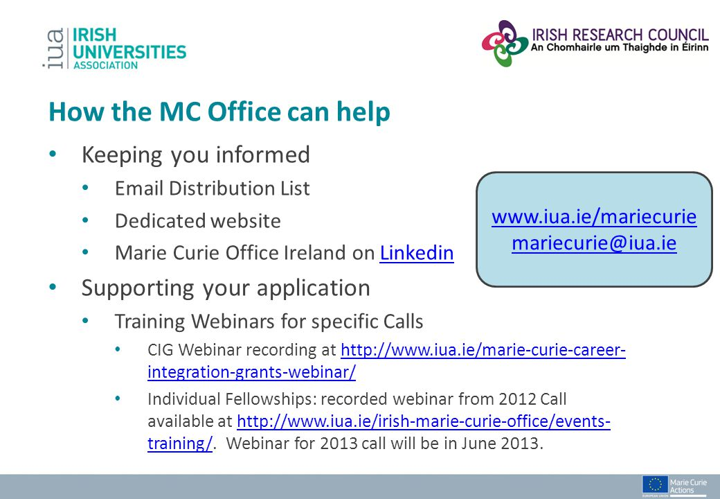 How the MC Office can help