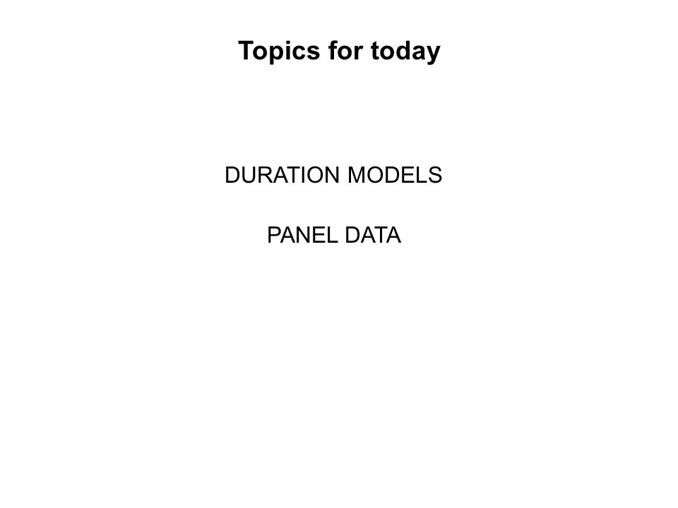 DURATION MODELS PANEL DATA